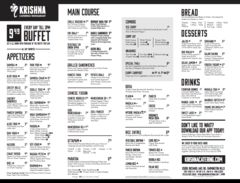 A menu of Krishna Catering & Restaurant