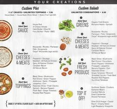 A menu of Pieology, Cannery Corner