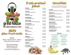 A menu of Grind House Juice Bar