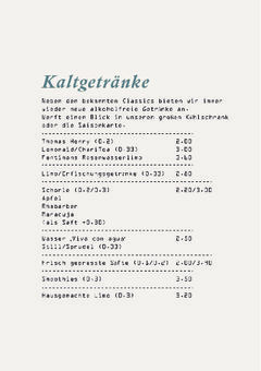 A menu of Café Fridolin