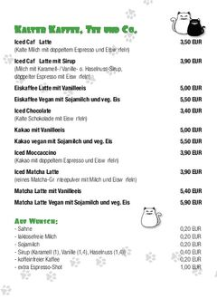 A menu of Cafe Schnurrke