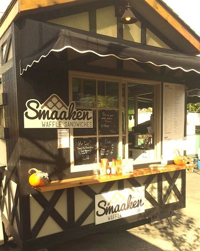 A photo of Smaaken Waffle Sandwiches, The Lot at Scout Beer