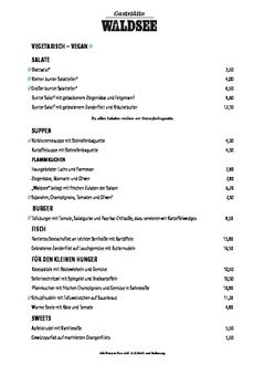 A menu of Waldsee