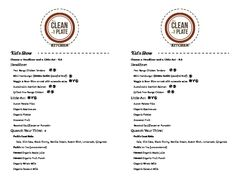 A menu of The Clean Plate Kitchen