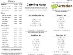 A menu of Umeke Market