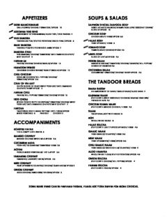 A menu of Saffron Indian Bistro, Norfolk