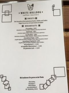 A menu of White Bulldog Coffee Roasters