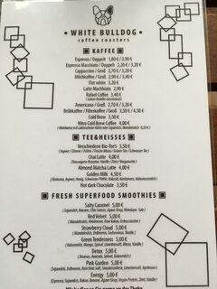A menu of White Bulldog Coffee Roasters