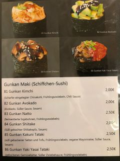 A menu of MakiMaki Sushi Green