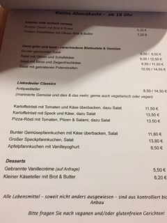 A menu of Liekedeeler