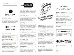 A menu of Te Quiero Verde