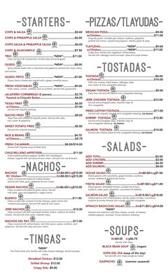 A menu of Alto Cinco