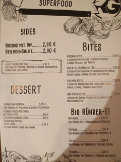 A menu of Rich `N Greens