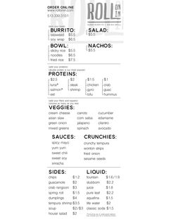 A menu of Roll On In