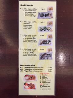 A menu of Wok & Roll