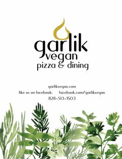 A menu of Garlik Vegan