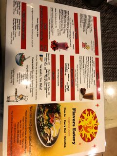 A menu of Flavors Eatery
