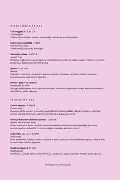 A menu of RoseHip Vegan Bistro