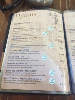 A menu of Humus Bistro