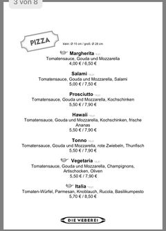 A menu of Die Weberei