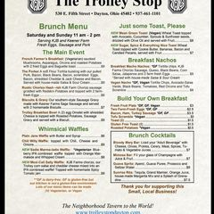 A menu of The Trolley Stop