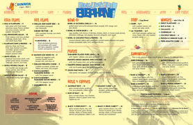 A menu of Bang Up To The Elephant!