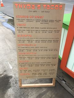 A menu of Thyda's Tacos