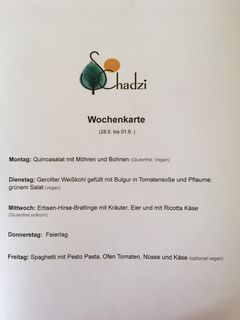 A menu of Café Schadzi