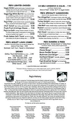 A menu of Peg's Glorified Ham N Eggs, South Reno