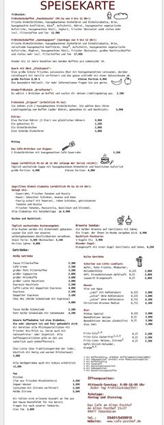 A menu of Café am alten Posthof