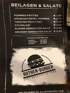 A menu of Rothen-Burger