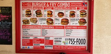 A menu of Chef Toddzilla's Gourmet Burgers and Mobile Cuisine
