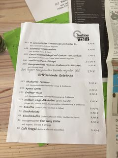A menu of Café Sahneweiß