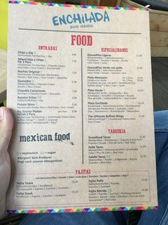 A menu of Enchilada