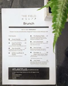 A menu of The Field Restaurant