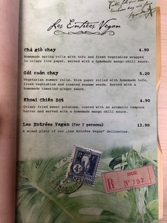 A menu of Mémoires d'Indochine