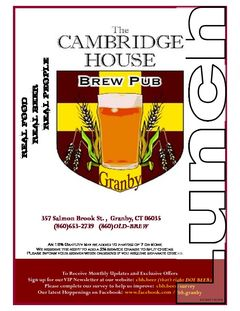 A menu of Cambridge House Brew Pub