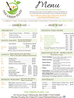 A menu of The Green Plate
