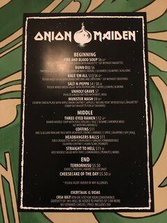 A menu of Onion Maiden