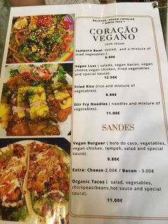 A menu of Coracao Vegano