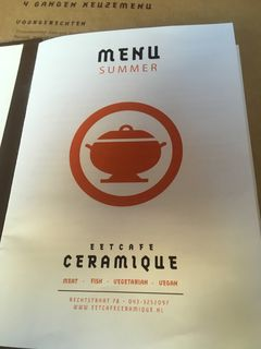 A menu of Eetcafé Ceramique