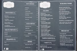 A menu of The Gallery