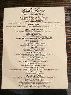 A menu of Oak House Mexican Kitchen