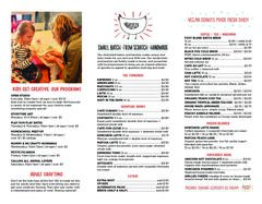 A menu of Henny Penny Art Space & Café
