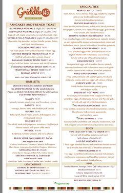 A menu of Griddle 145