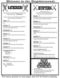 A menu of The Buzz Mill