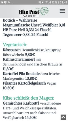 A menu of Alte Post Parsdorf