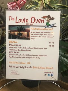 A menu of The Lovin' Oven