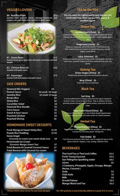 A menu of Siam Lotus Asian Kitchen & Bar
