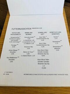 A menu of Herr Sonnenschein